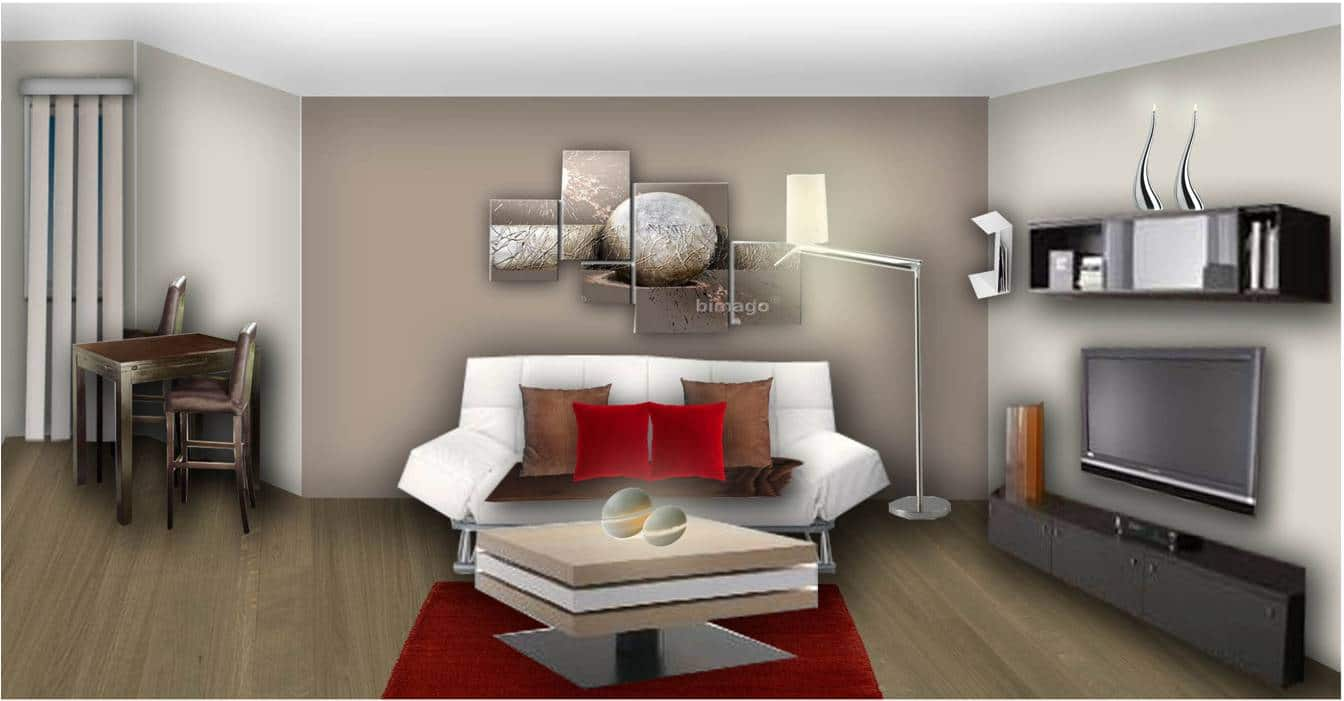 Peinture salon blanc et taupe for Photo moderne deco