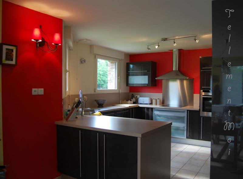 Cuisine rouge peinture pr l vement d 39 chantillons et une bonne id e de concevoir for Peinture cuisine couleur